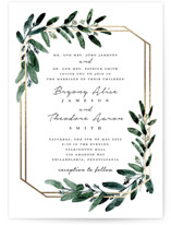 This is a white petite wedding invitation by Lissabeth Anglin called Gilded Eucalyptus with foil-pressed printing on signature in petite.