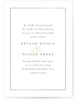This is a white petite wedding invitation by Jessica Williams called Bianca with foil-pressed printing on signature in petite.