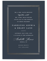 This is a blue petite wedding invitation by Stacey Meacham called The Biltmore with foil-pressed printing on signature in petite.