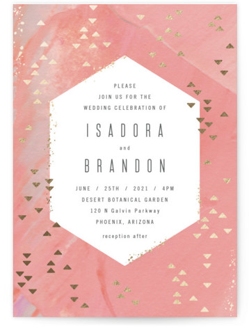 This is a portrait pink, gold Wedding Invitations by Hooray Creative called Coral Geometrics with Foil Pressed printing on Signature in Petite Flat Card format. Handpainted background with modern type and geometric pattern in gold foil.