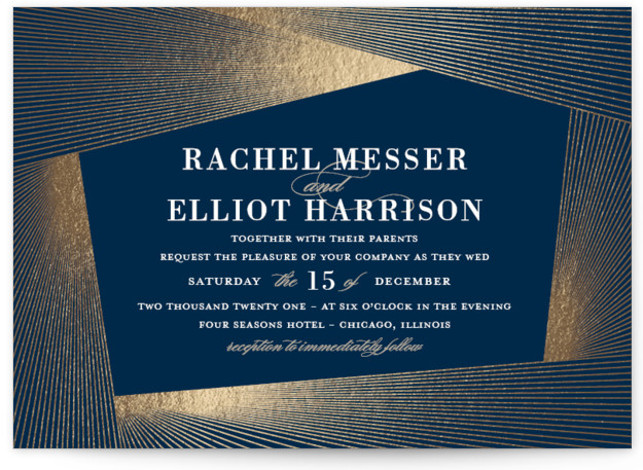 This is a landscape blue, gold Wedding Invitations by Kaydi Bishop called String Art with Foil Pressed printing on Signature in Petite Flat Card format. Inspired by a mix of lighting plans and string art
