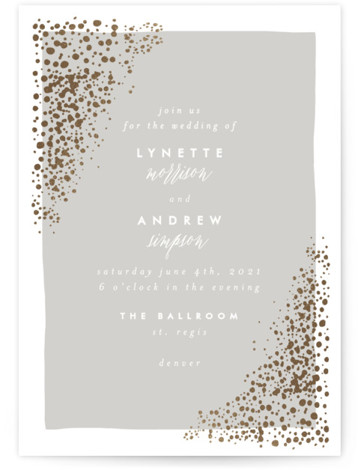 This is a portrait modern, painterly, gold, grey Wedding Invitations by AK Graphics called River Rock with Foil Pressed printing on Signature in Petite Flat Card format. A serene wedding announcement featuring gilded, original hand illustrated river rock.