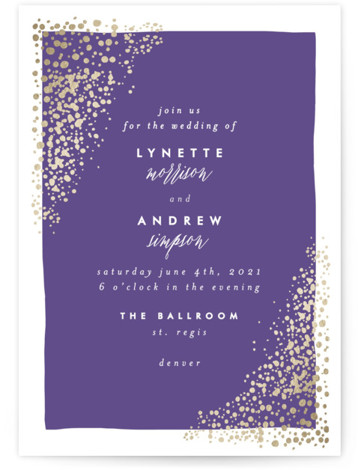 This is a portrait modern, painterly, purple Wedding Invitations by AK Graphics called River Rock with Foil Pressed printing on Signature in Petite Flat Card format. A serene wedding announcement featuring gilded, original hand illustrated river rock.