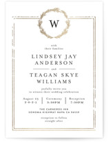 This is a gold petite wedding invitation by Phrosne Ras called Little Wreath with foil-pressed printing on signature in petite.