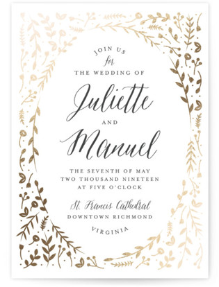 photo of Garden Romance Foil Pressed Wedding Invitation Petite Cards