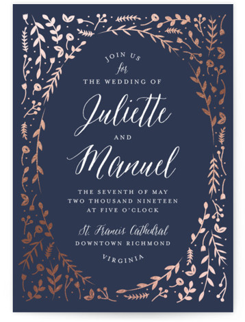 This is a portrait botanical, rustic, blue, rosegold Wedding Invitations by carly reed walker called Garden Romance with Foil Pressed printing on Signature in Petite Flat Card format. Created for you by Minted's global community of designers, our invitation designs ...