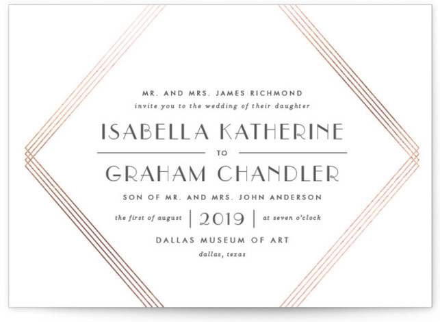 This is a landscape geometric, rosegold Wedding Invitations by Lauren Chism called Gilt with Foil Pressed printing on Signature in Petite Flat Card format. Created for you by Minted's global community of designers, our invitation designs will set the perfect ...