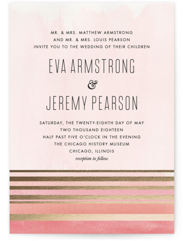 This is a portrait modern, pink, gold Wedding Invitations by Carolyn Nicks called Golden Sunset with Foil Pressed printing on Signature in Petite Flat Card format. Created for you by Minted's global community of designers, our invitation designs will set ...
