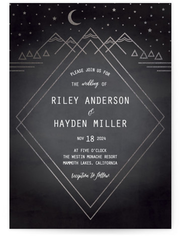 This is a portrait hand drawn, rustic, black Wedding Invitations by Summer Winkelman called Mountain Sky with Foil Pressed printing on Signature in Petite Flat Card format. A wedding invitation for the nature enthusiast. A geometric landscape with a glimmering ...
