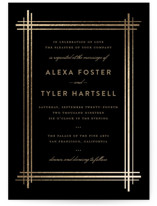 This is a black petite wedding invitation by Three Kisses Studio called Grand Affair with foil-pressed printing on signature in petite.