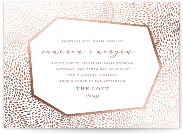 This is a landscape bohemian, funny, modern, pink Wedding Invitations by Oscar & Emma called Lovely Beginning with Foil Pressed printing on Signature in Petite Flat Card format. Intricate hand drawn dots create a modern, yet playful pattern.