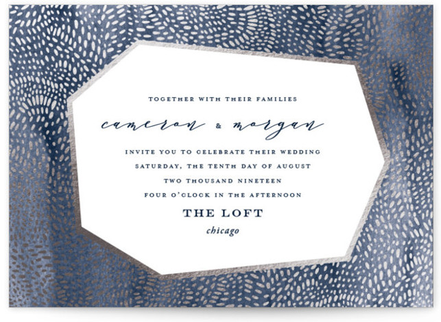 This is a landscape bohemian, funny, modern, blue Wedding Invitations by Oscar & Emma called Lovely Beginning with Foil Pressed printing on Signature in Petite Flat Card format. Intricate hand drawn dots create a modern, yet playful pattern.