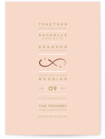 This is a portrait modern, pink, rosegold Wedding Invitations by fatfatin called Monogrammed Infinity with Foil Pressed printing on Signature in Petite Flat Card format. Created for you by Minted's global community of designers, our invitation designs will set the ...