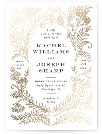 This is a portrait botanical, black, yellow Wedding Invitations by Shiny Penny Studio called Lacy Meadow Ovals with Foil Pressed printing on Signature in Petite Flat Card format. This foil invitation features detailed florals and branches curved around to create ...