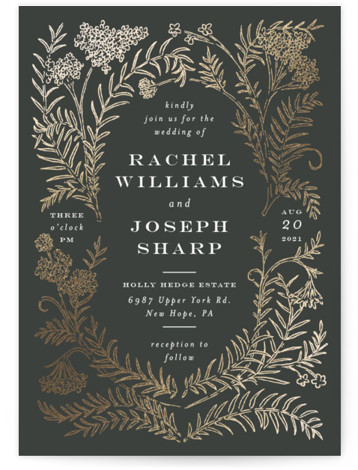 This is a portrait botanical, black, gold Wedding Invitations by Shiny Penny Studio called Lacy Meadow Ovals with Foil Pressed printing on Signature in Petite Flat Card format. This foil invitation features detailed florals and branches curved around to create ...