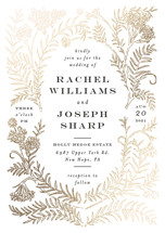 Lacy Meadow Ovals Foil-Pressed Wedding Invitation Petite Cards