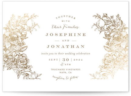 photo of Engraved Flowers Foil Pressed Wedding Invitation Petite Cards