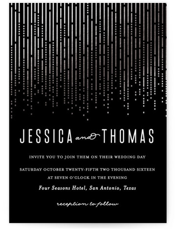 This is a portrait classical, elegant, metallic, modern, vintage, black, silver Wedding Invitations by Rebecca Bowen called Crystal Curtain with Foil Pressed printing on Signature in Petite Flat Card format. Created for you by Minted's global community of designers, our ...