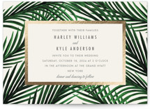This is a beige petite wedding invitation by Elly called Tropical Love with foil-pressed printing on signature in petite.