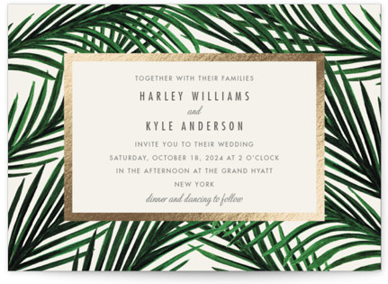 Tropical Love Foil-Pressed Wedding Invitation Petite Cards