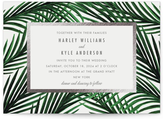 This is a landscape botanical, silver Wedding Invitations by Elly called Tropical Love with Foil Pressed printing on Signature in Petite Flat Card format. Created for you by Minted's global community of designers, our invitation designs will set the perfect ...
