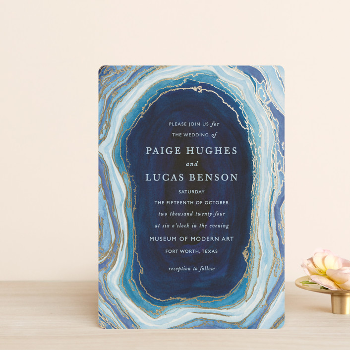 """""""Gilt Agate"""" - Bohemian Foil-pressed Wedding Invitation Petite Cards in Navy by Kaydi Bishop."""