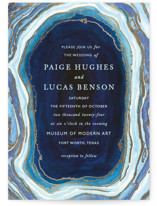 This is a blue petite wedding invitation by Kaydi Bishop called Gilt Agate with foil-pressed printing on signature in petite.