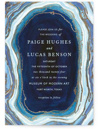 Gilt Agate Foil-Pressed Wedding Invitation Petite Cards