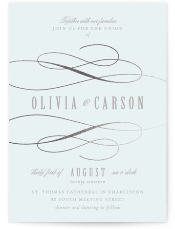 This is a portrait bold and typographic, silver, blue Wedding Invitations by Lori Wemple called Mist with Foil Pressed printing on Signature in Petite Flat Card format. Created for you by Minted's global community of designers, our invitation designs will ...
