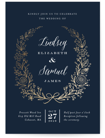 This is a portrait botanical, rustic, blue, gold Wedding Invitations by Jennifer Wick called Painted Wreath with Foil Pressed printing on Signature in Petite Flat Card format. Created for you by Minted's global community of designers, our invitation designs will ...