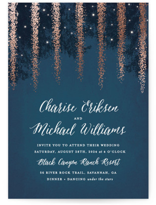 Strands Of Lights Foil-Pressed Wedding Invitation Petite Cards