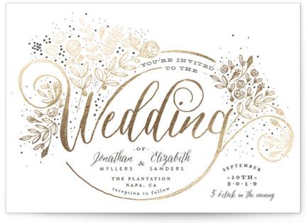 The Wedding Bouquet Foil-Pressed Wedding Invitation Petite Cards