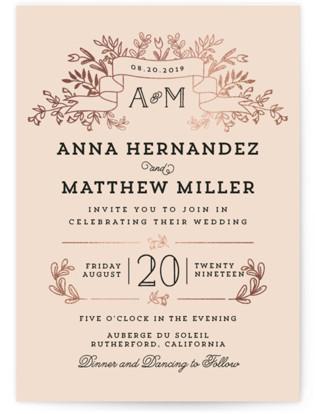 Wedding Bouquet Foil-Pressed Wedding Invitation Petite Cards