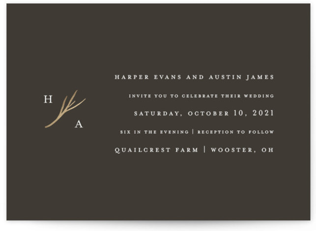 This is a landscape classic and formal, simple and minimalist, brown, gold Wedding Invitations by Robin Ott called antler with Foil Pressed printing on Signature in Petite Flat Card format. Clean typography and a petite monogram full of rustic elegance. ...