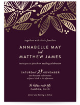 This is a purple petite wedding invitation by Robin Ott called Belle with foil-pressed printing on signature in petite.