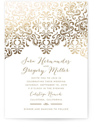 Black Tie Wedding Foil-Pressed Wedding Invitation Petite Cards
