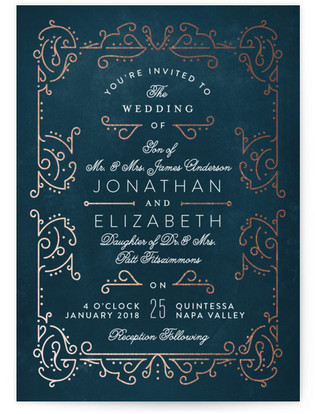 Dainty Deco Foil Pressed Wedding Invitation Petite Cards