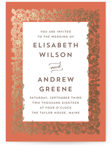 This is a portrait botanical, orange, gold Wedding Invitations by Katharine Watson called Elisabeth Floral with Foil Pressed printing on Signature in Petite Flat Card format. Created for you by Minted's global community of designers, our invitation designs will set ...