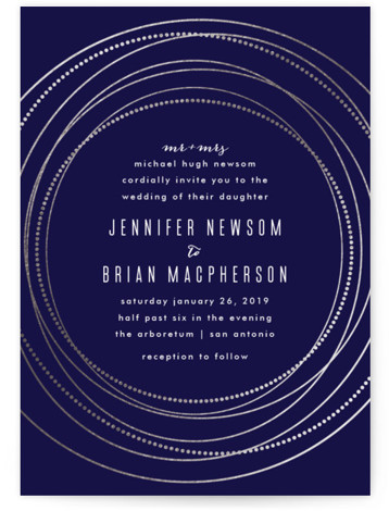 This is a portrait bohemian, modern, blue, silver Wedding Invitations by Rebecca Bowen called Circled with Foil Pressed printing on Signature in Petite Flat Card format. Created for you by Minted's global community of designers, our invitation designs will set ...