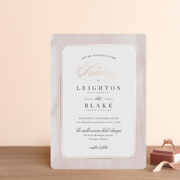 """Forever Elegant"" - Foil-pressed Wedding Invitation Petite Cards in Mauve by Hooray Creative."