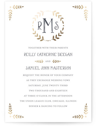 photo of Glittered Monogram Foil Pressed Wedding Invitation Petite Cards