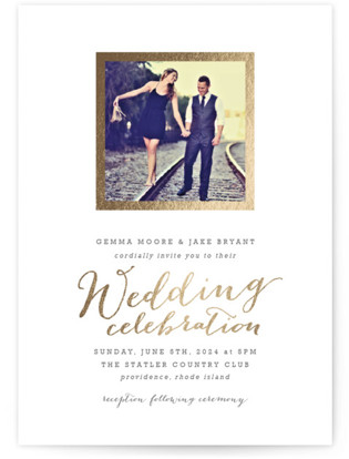 photo of Modern Photo Frame Foil Pressed Wedding Invitation Petite Cards