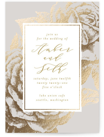 Fleur Foil-Pressed Wedding Invitation Petite Cards