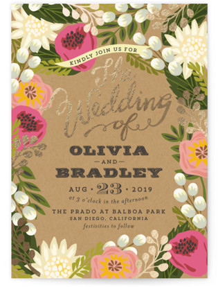 Floral Canopy Foil-Pressed Wedding Invitation Petite Cards