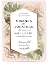 This is a gold petite wedding invitation by shoshin studio called Palm Springs with foil-pressed printing on signature in petite.