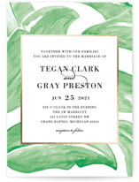 This is a green petite wedding invitation by Laura Hamm called botanical leaves with foil-pressed printing on signature in petite.