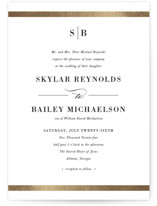 This is a white petite wedding invitation by Stacey Meacham called Classic Monogram with foil-pressed printing on signature in petite.