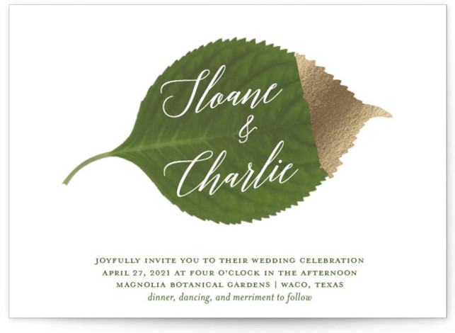This is a landscape green, white Wedding Invitations by Kaydi Bishop called Dipped Leaf with Foil Pressed printing on Signature in Petite Flat Card format. A large hydrangea leaf dipped in gold is scripted with the couples names.
