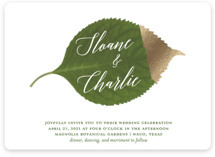 This is a green petite wedding invitation by Kaydi Bishop called Dipped Leaf with foil-pressed printing on signature in petite.
