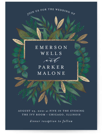 This is a portrait botanical, blue, gold Wedding Invitations by Lehan Veenker called Verdure with Foil Pressed printing on Signature in Petite Flat Card format. Original hand drawn botanicals and touches of gold create a rich frame around the couple's ...